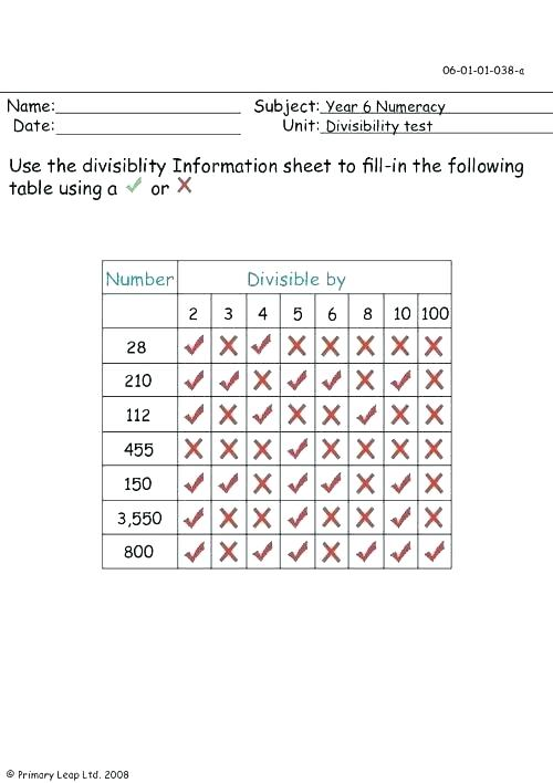 Divisibility Worksheets