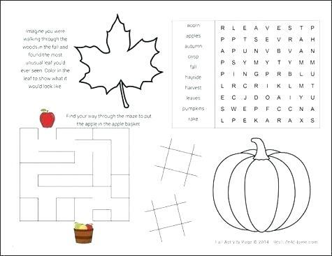 Fall Worksheets For Preschool Autumn Themed Kindergarten Activity