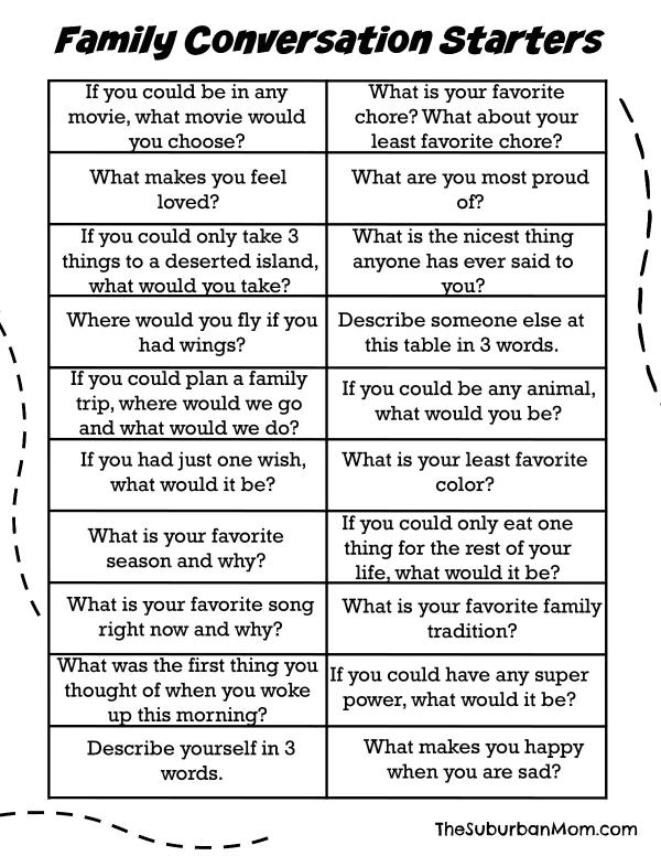 Family Conversation Starters (free Printable)