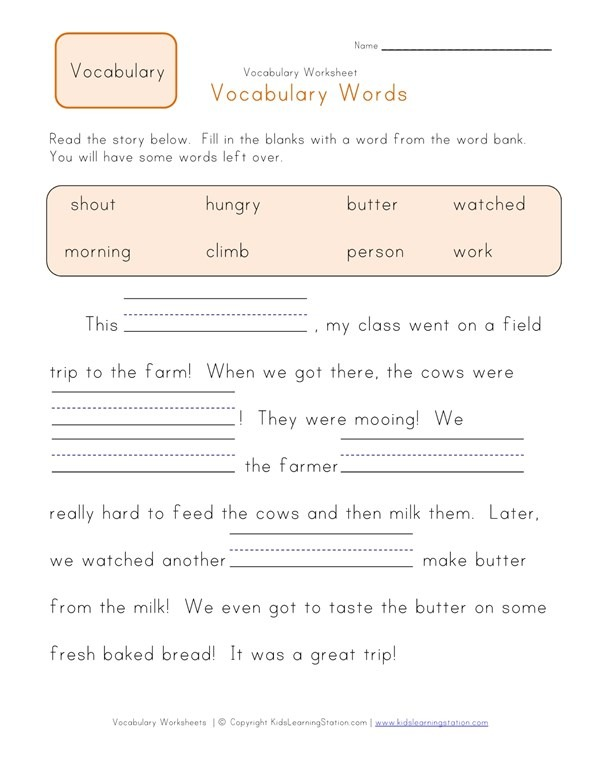 Fill In The Blanks Vocabulary Worksheet 1
