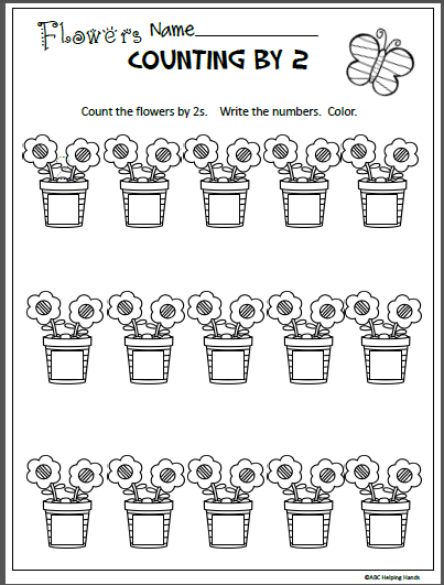 Free Spring Math Worksheet For Counting By 2s