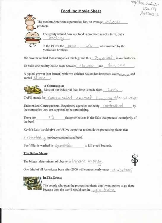 Food Inc Worksheet Answer Key Counting Money Worksheets Halloween