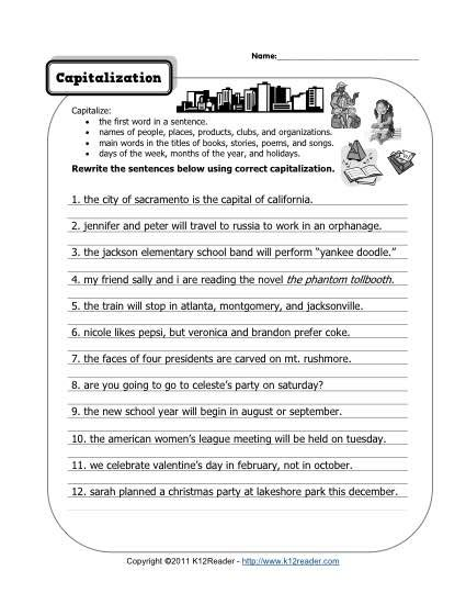 Free Capitalization Worksheets 2019 Arithmetic And Geometric
