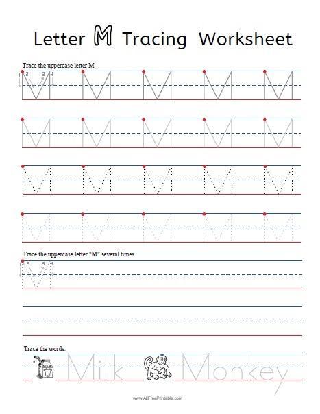 Letter M Tracing Worksheets