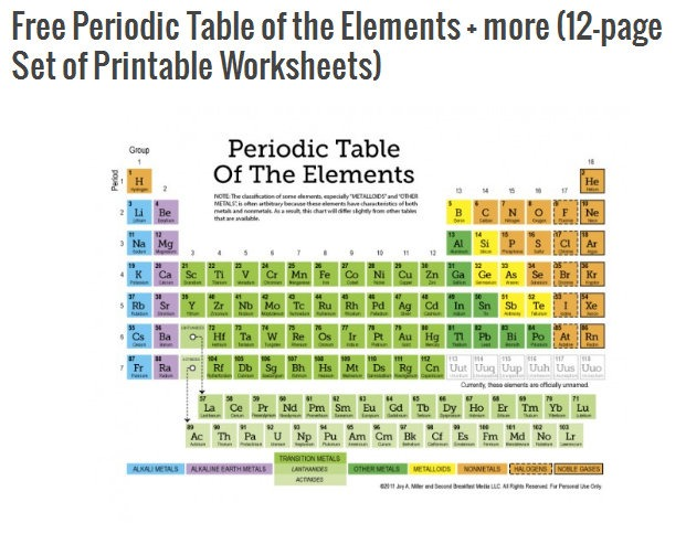 Free  Periodic Table Of The Elements & Free Printable Set For