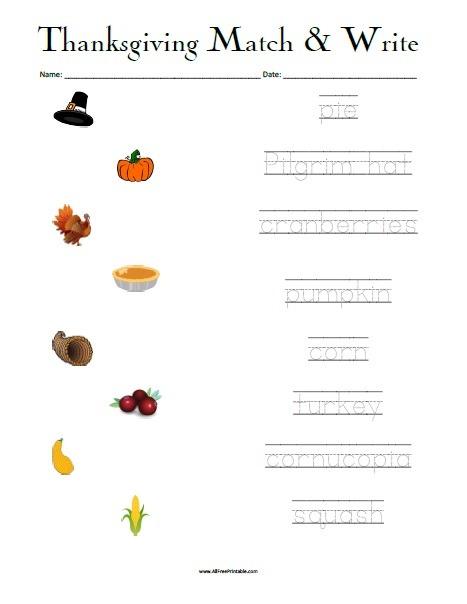 Thanksgiving Matching Worksheet