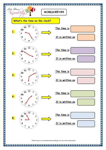 Grade 3 Maths Worksheets  (8 3 Telling The Time In 5 Minutes
