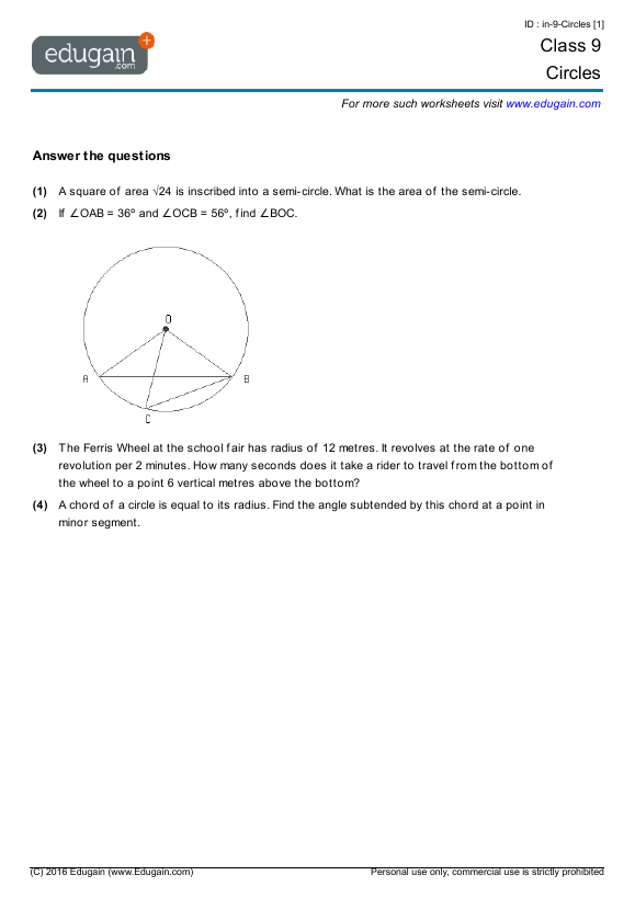 Grade 9 Math Worksheets And Problems  Circles