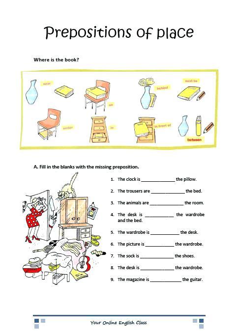 Grammar Prepositions Of Place Worksheets For Kids Ell Grammar