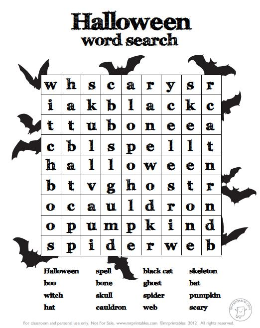 Halloween Printable Worksheets Free – Halloween & Holidays Wizard