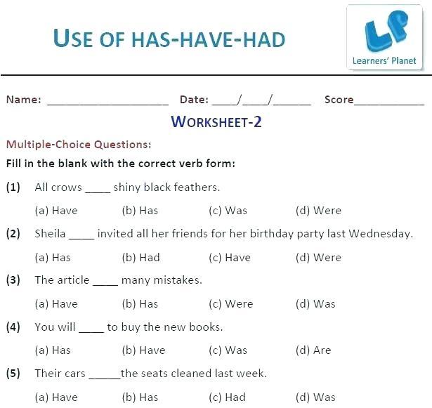Has Have Worksheets Grammar For Grade 1 4 Screenshot 4th Science