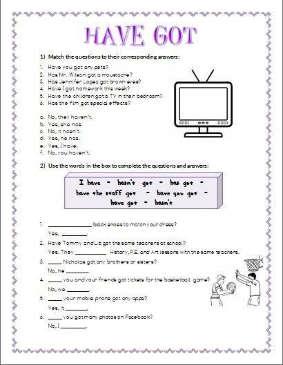Verb Have Got Interrogative Form Worksheet 2