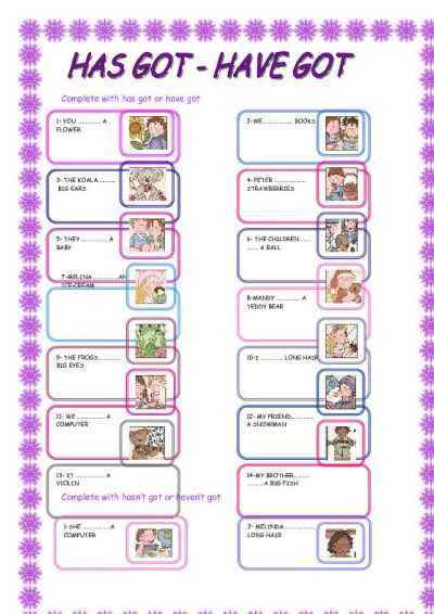 Have And Has Got Worksheet For Children