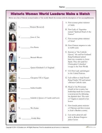 Women's History Month Worksheet