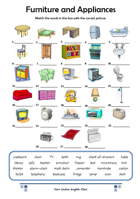 Home Vocabulary English Worksheets