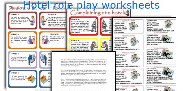 Hotel Role Play Worksheets