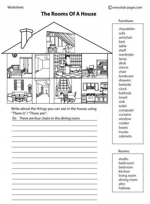 House Parts 2 B&w Worksheet