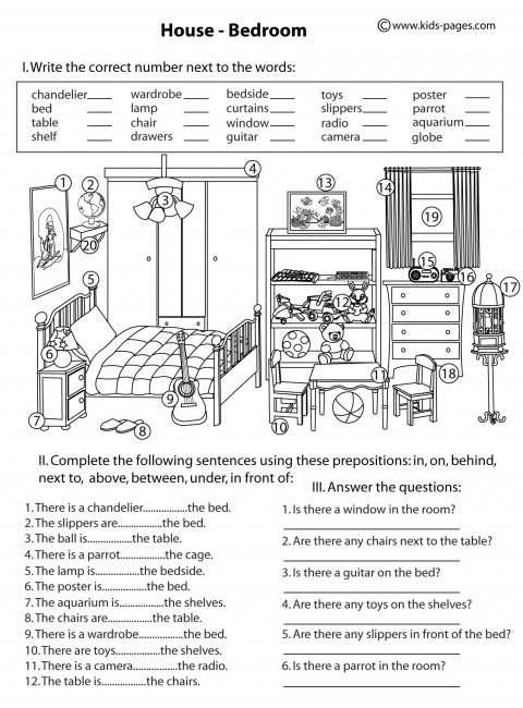House Bedroom B & W Worksheet