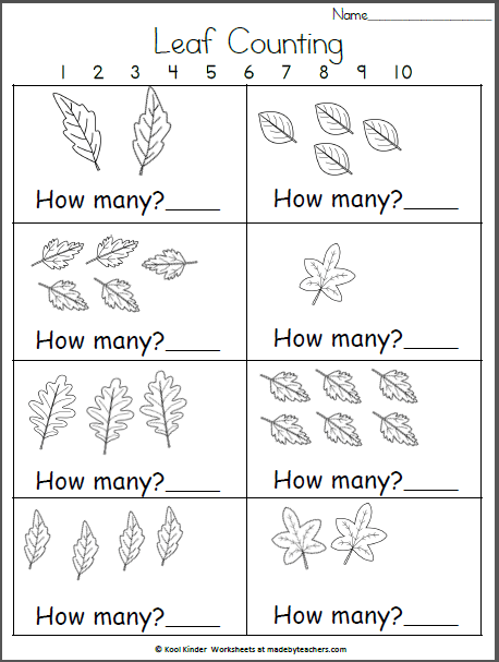 How Many Fall Leaves  Kindergarten Math