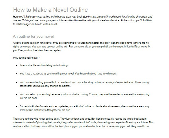 Novel Outline Template