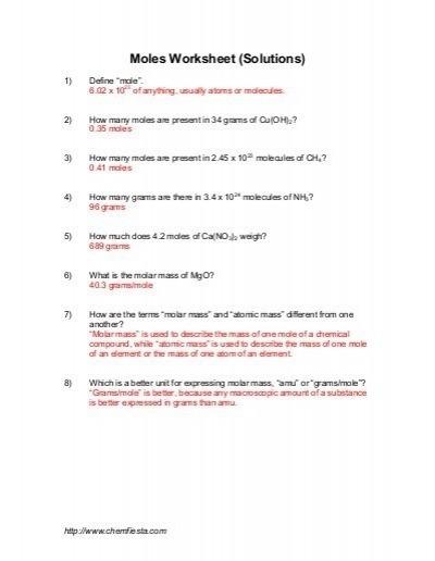 Grams To Moles Worksheet