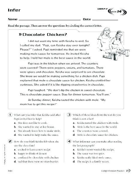 Inference Worksheets Grade 2 – Anjuladevi Co