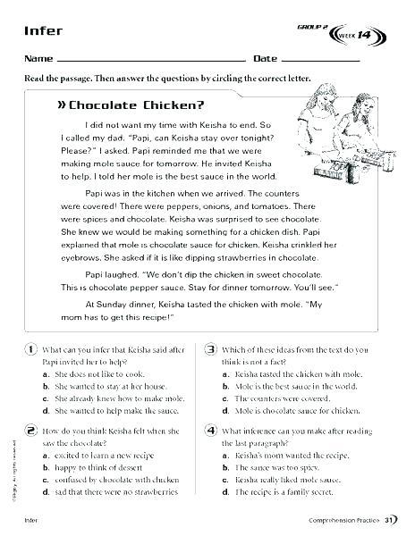 Inference Worksheets Grade 2 – Anjuladevi Co