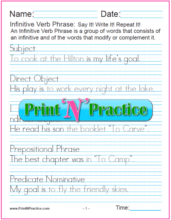 Gerund And Infinitive With Participle Worksheets