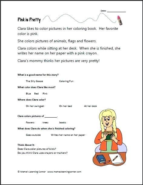 Kindergarten Reading Comprehension Worksheets Best Of Free