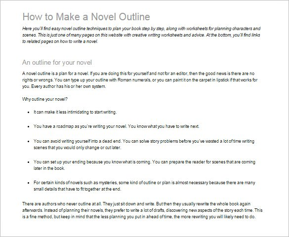 7+ Novel Outline Templates
