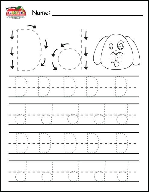 Letter D Tracing Worksheets Free Pages Preschool Alphabet Letters