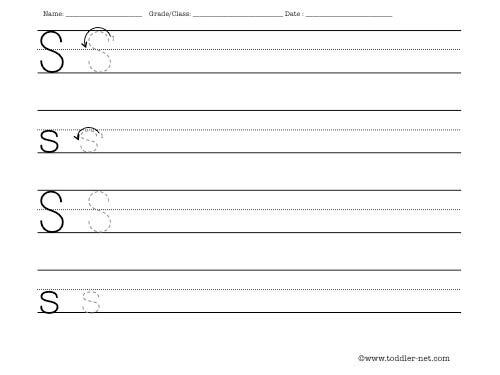 Letter S Writing Worksheet