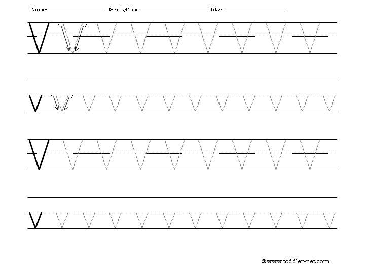 Free Tracing Letter V Worksheet