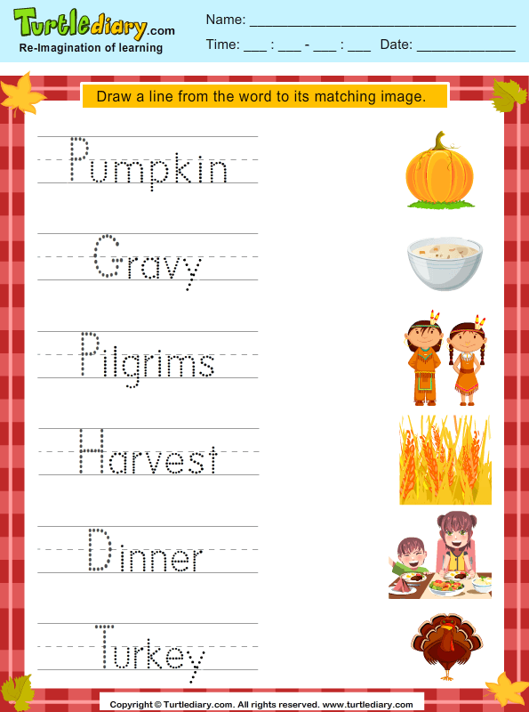 Match Thanksgiving Words With Pictures Worksheet