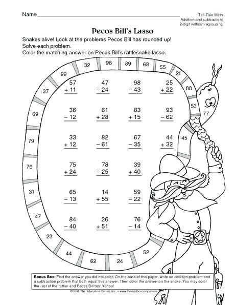 Math Worksheet 2 Digit Addition And Subtraction Without Regrouping