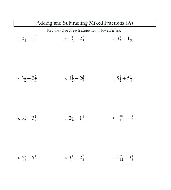 Mixed Fraction Worksheets Adding Fractions Worksheets Subtracting