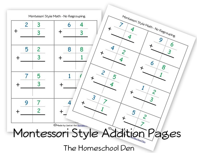 Free Montessori Style Addition Sheets (and Place Value Activities