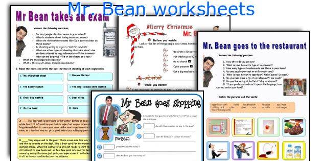 Mr  Bean Worksheets