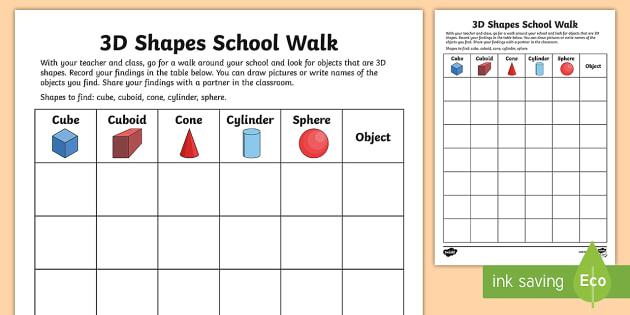3d Shapes School Walk Worksheet   Worksheet