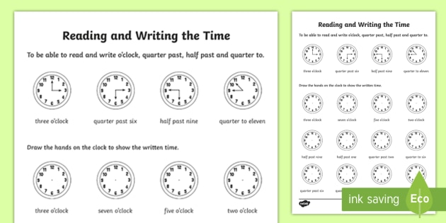 Reading And Writing The Time Worksheet   Worksheet