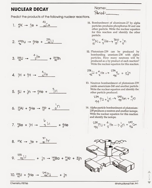 Nuclear Decay Worksheet Answers Chemistry Cursive Worksheets