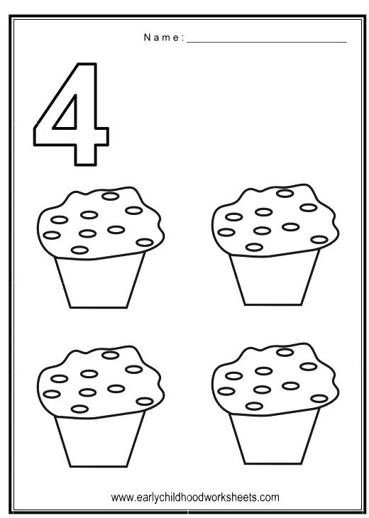 Number 4 Worksheets Kindergarten Number 4 Tracing Worksheets
