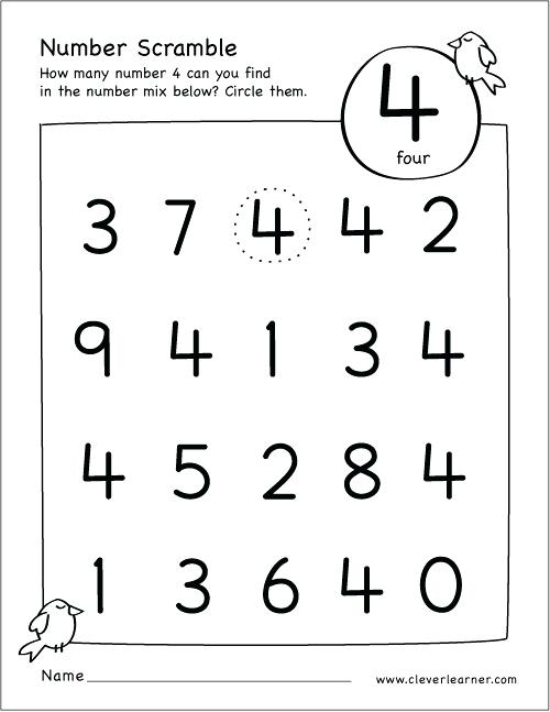 Number 4 Worksheets For Library Kindergarten 1 5 – Deffufa Info