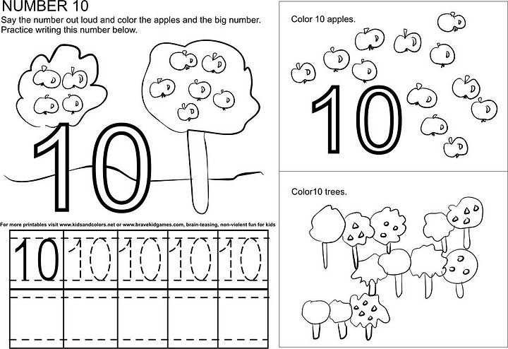 Number 10 ( Ten ) Tracing And Coloring Worksheets