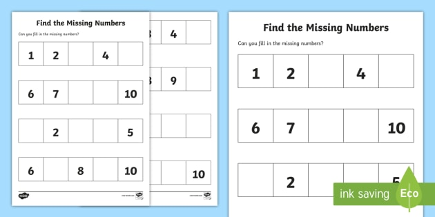 Find The Missing Numbers Worksheet   Worksheet