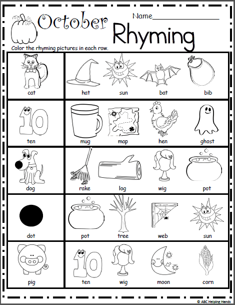 Halloween Rhyming Worksheet