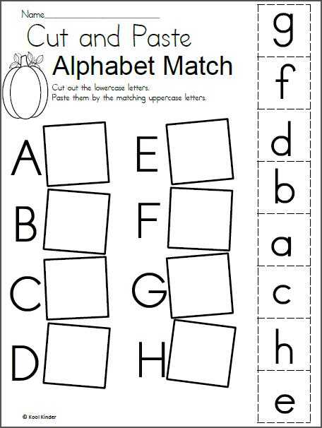 Alphabet Match Worksheet For Fall