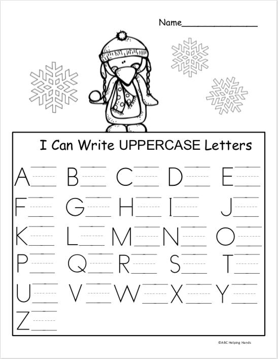 Free Winter Kindergarten Letter Writing Worksheet