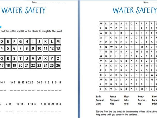 Water Safety Booklet (worksheets) By Casey1318