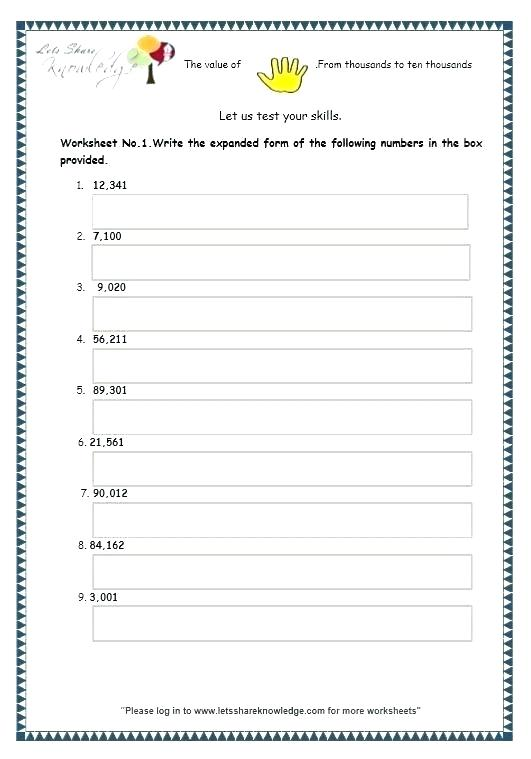Place Value Grade Math Worksheets Expanded Notation From Form